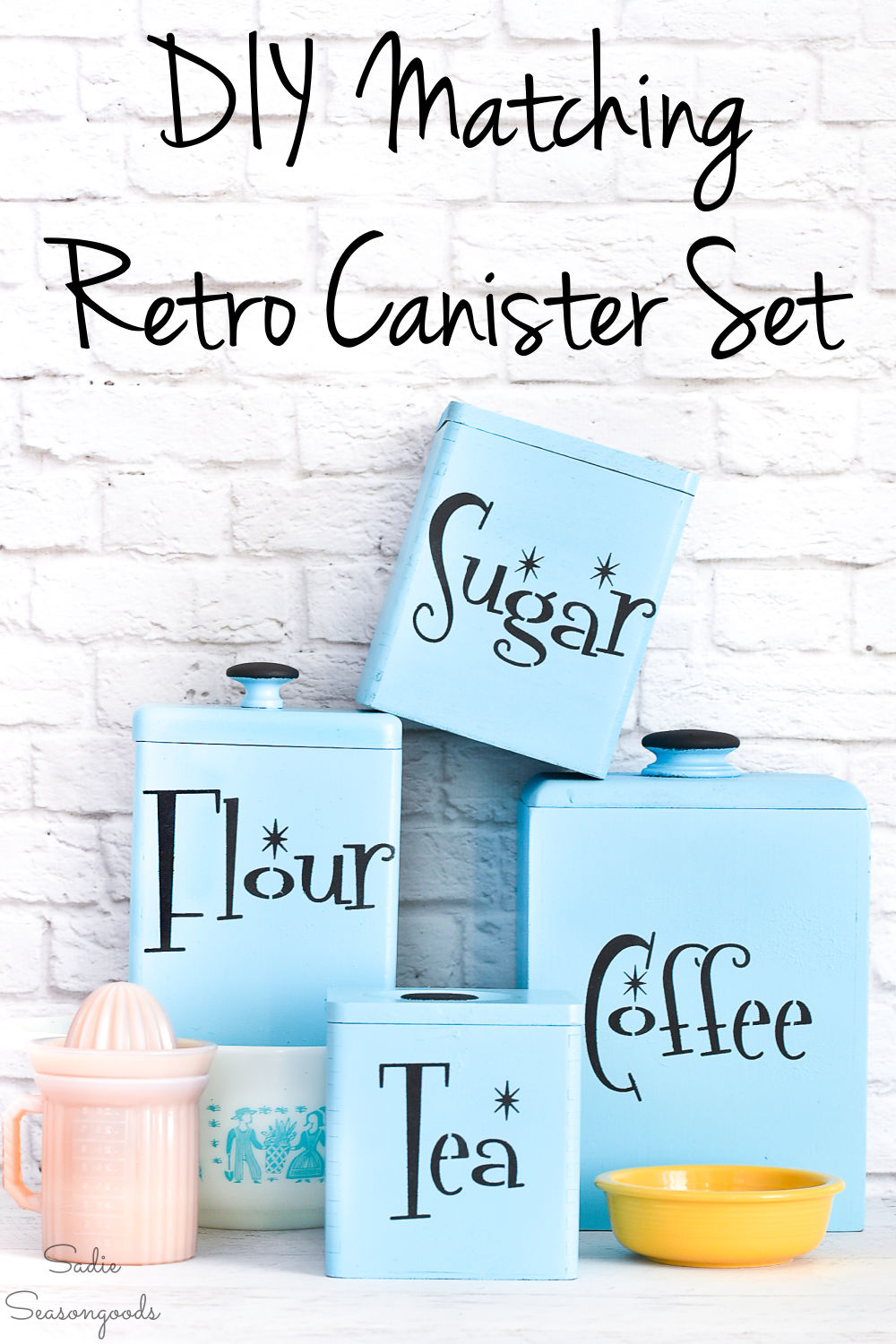 Mid century modern stencils on wooden canisters
