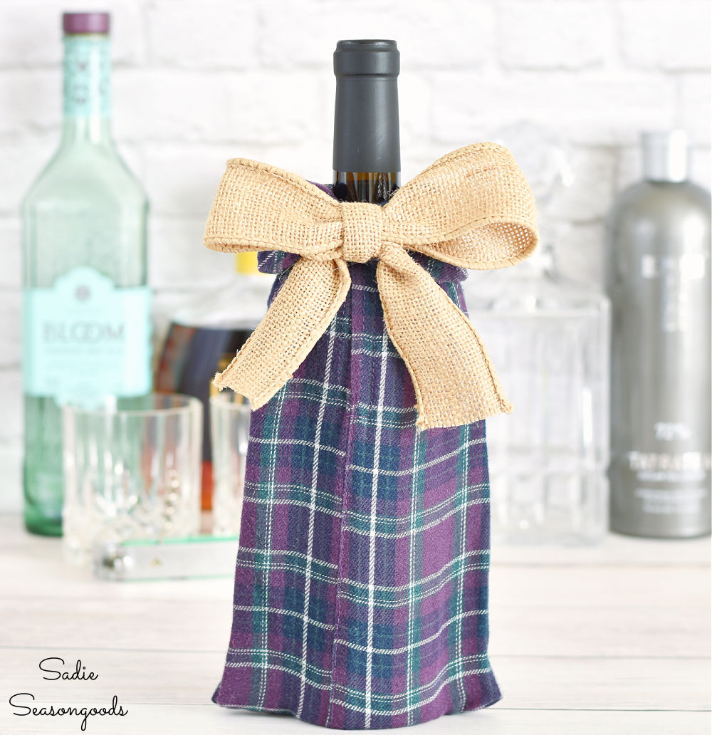wine bottle gift bag from a flannel shirt