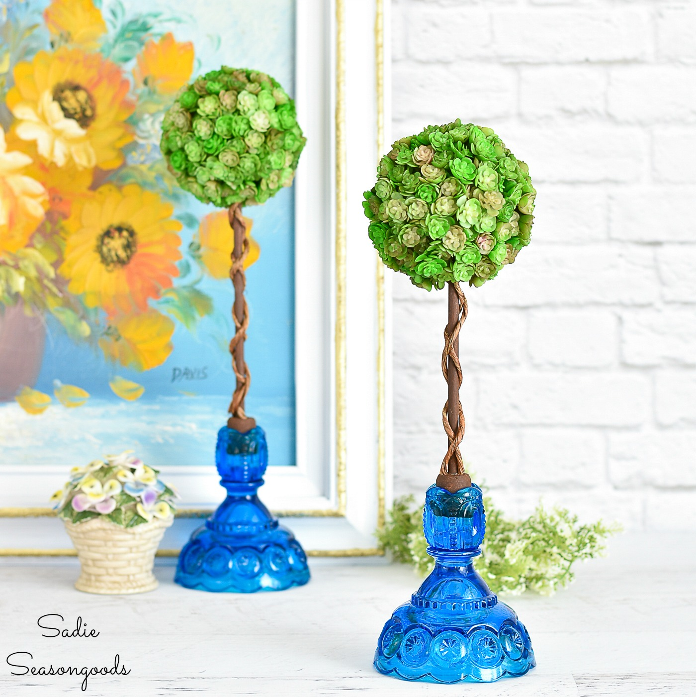 Artificial Topiary Trees in Vintage Candlesticks for Spring Decor