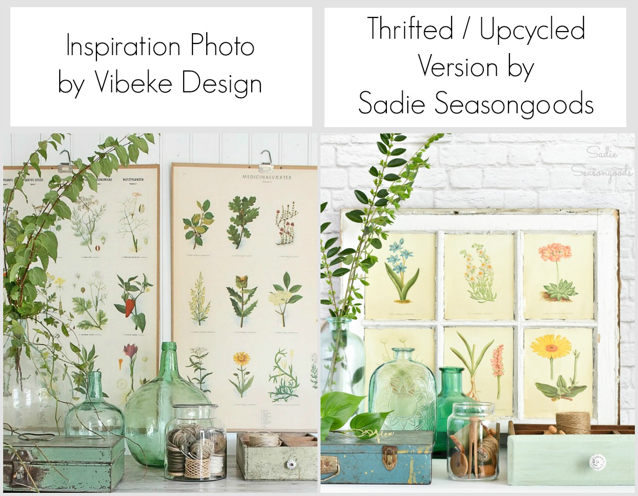 Thrift the Look for Garden Decor or Botanical Decor with thrifted pieces and upcycled crafts