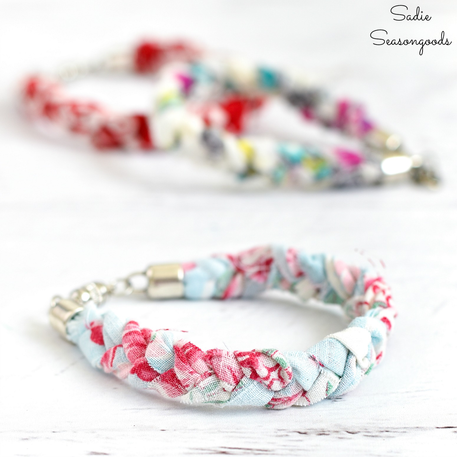 Boho bracelets that are vintage chic from vintage handkerchiefs