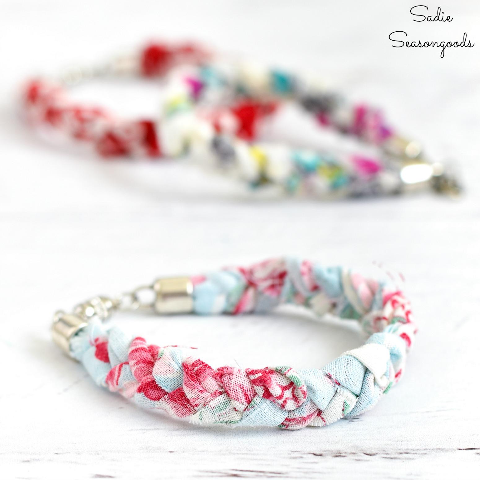 Braided Bracelets from Vintage Handkerchiefs