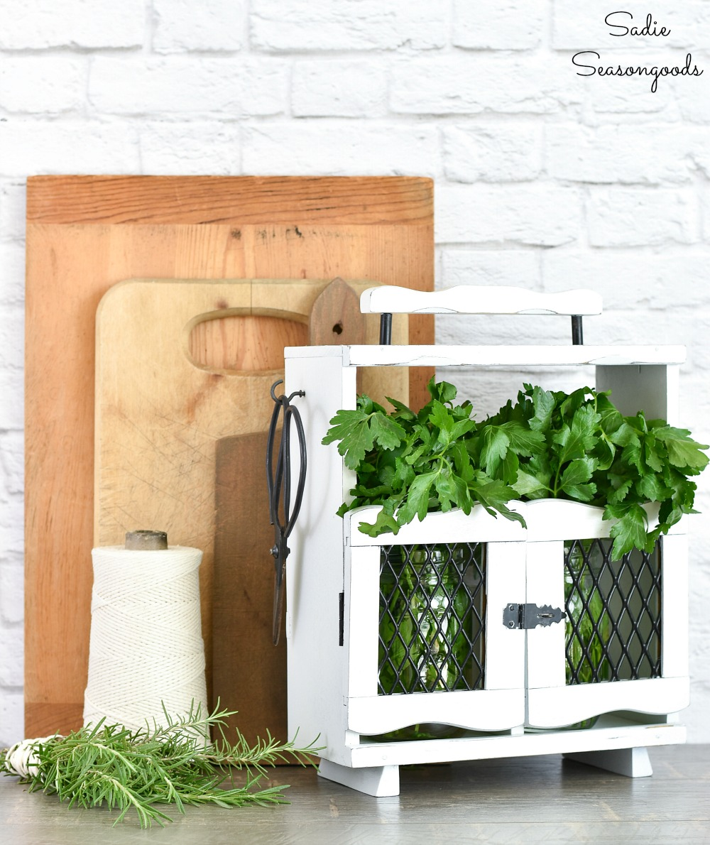 Herb holder by repurposing a decanter tantalus or wooden caddy