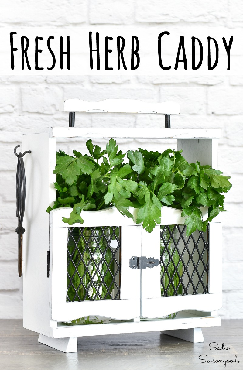 Upcycling a wooden caddy as an herb holder or storage for cut herbs