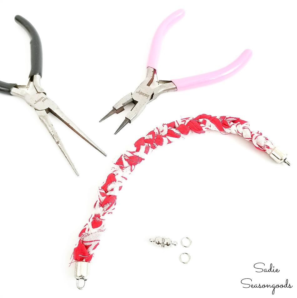 Upcycling the vintage handkerchiefs into boho bracelets