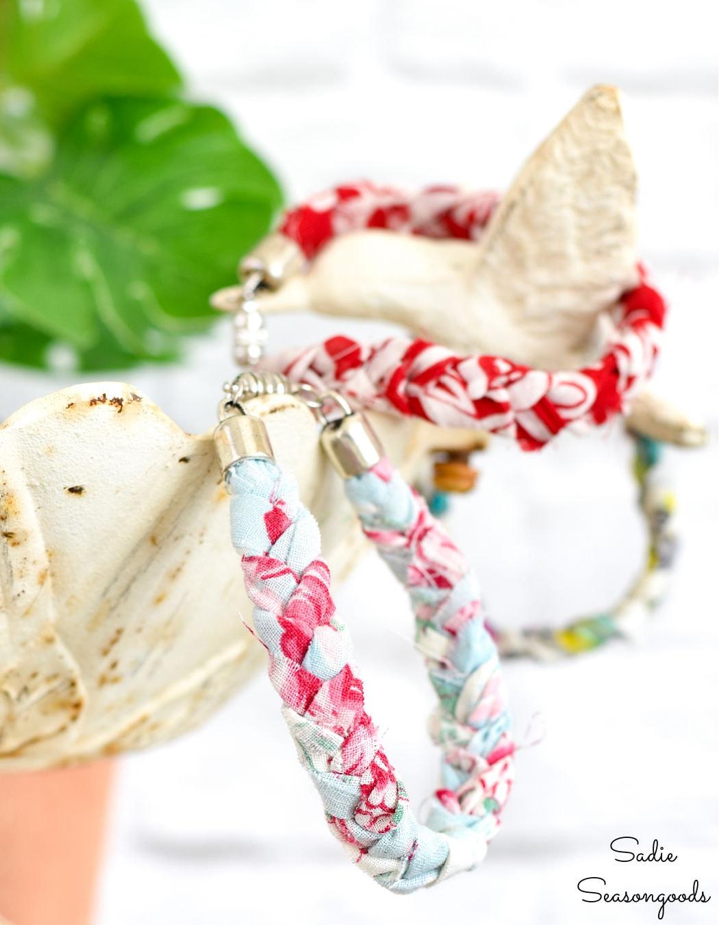 braided bracelets from vintage hankies