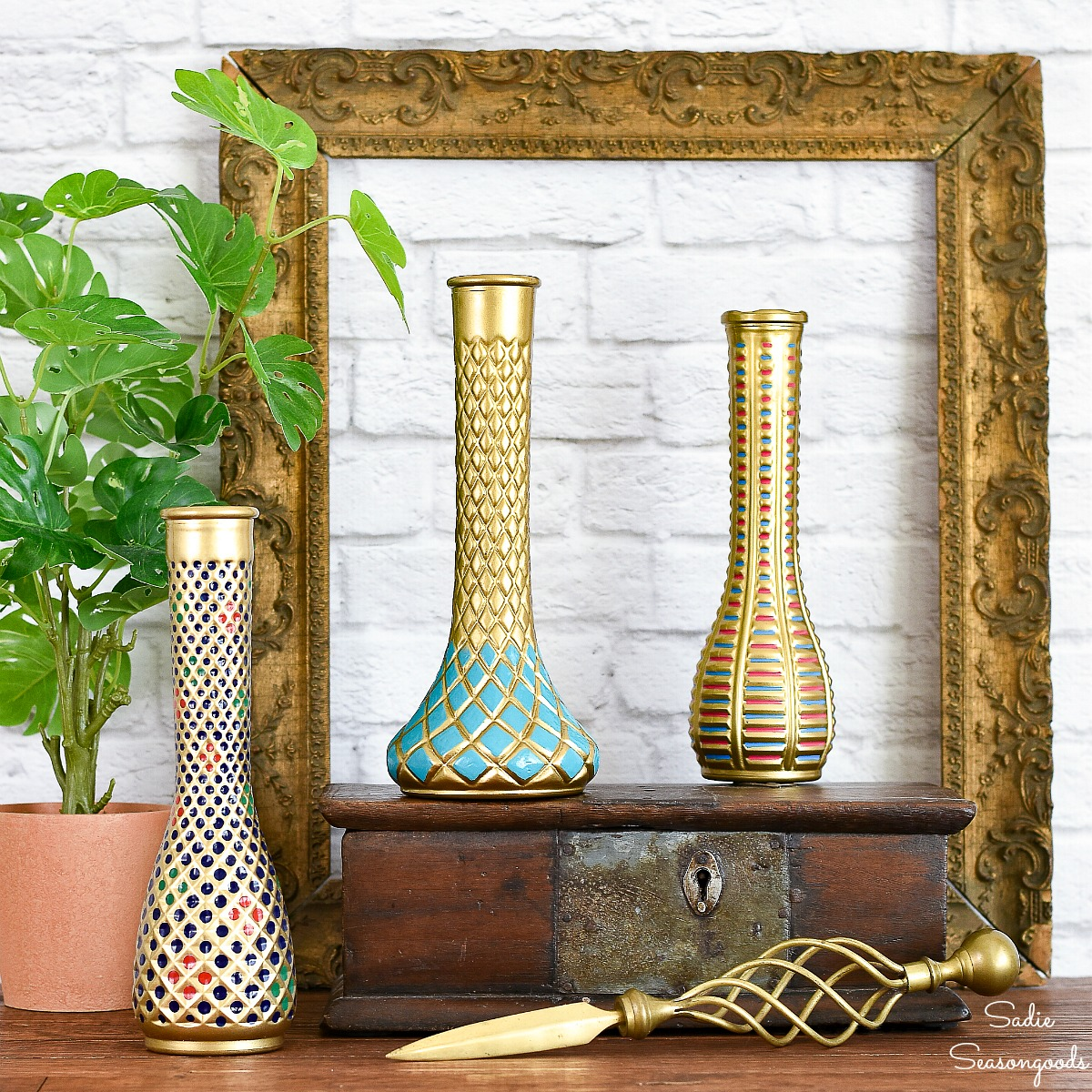 Cloisonne Vase Inspiration with Florist Vases from the Thrift Store