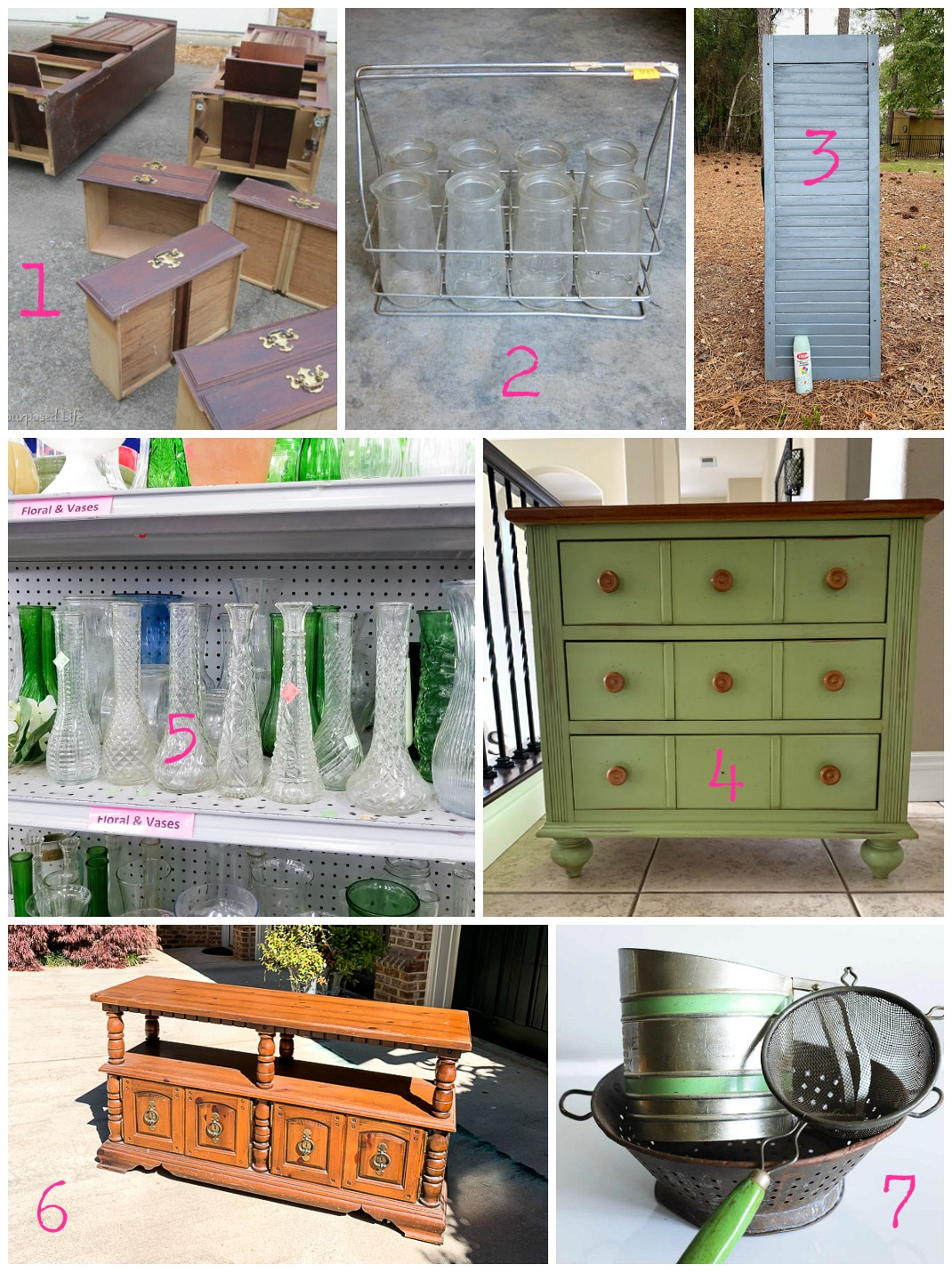 Thrift store makeovers and decor ideas by upcycling bloggers