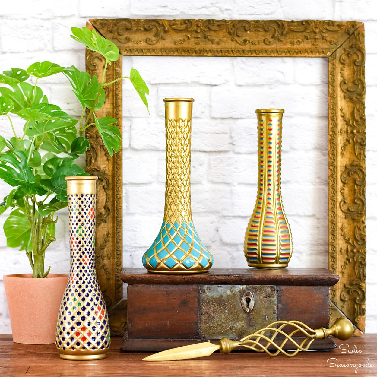 Faking a Cloisonne Vase for Thrift Home Decor