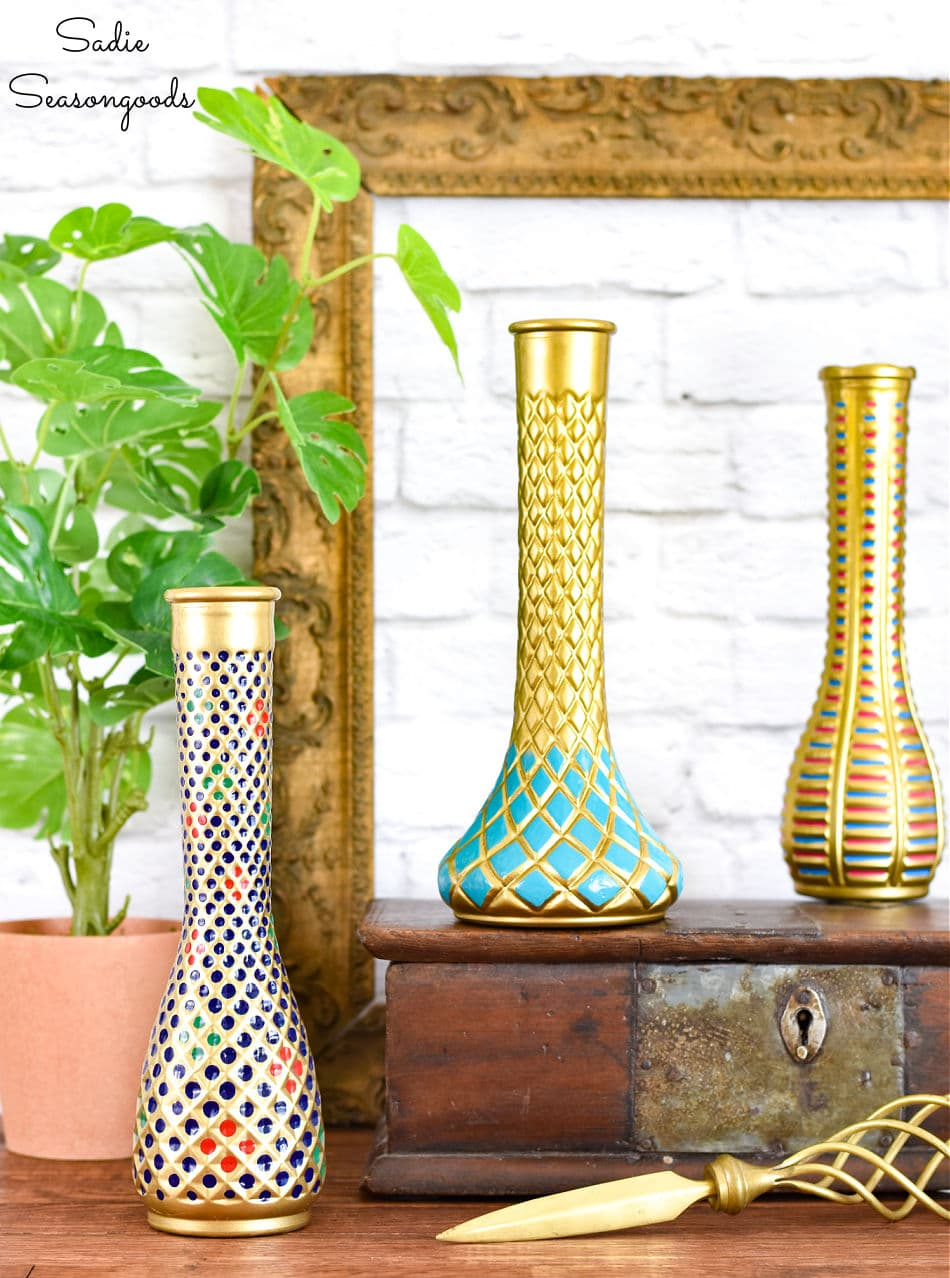 Painting a clear glass vase to look like luxe decor