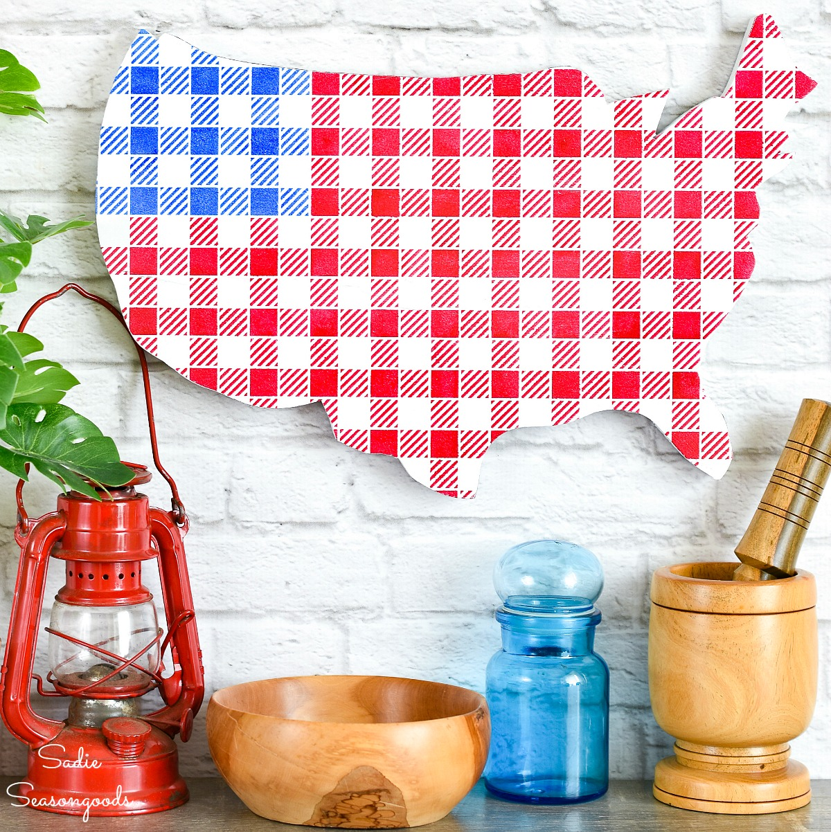 American Flag Decor with a Buffalo Plaid Stencil