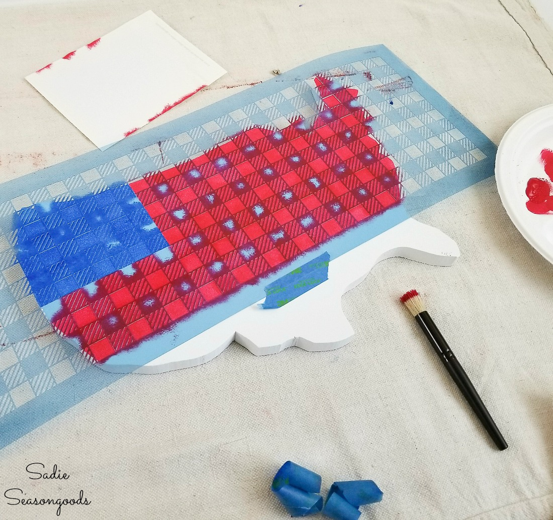 Designing the American flag decor with a Buffalo check stencil