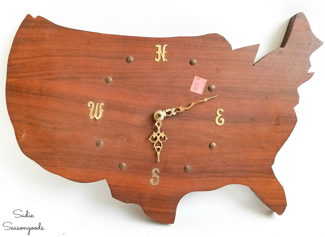Upcycling a wooden USA shaped clock into flag decor