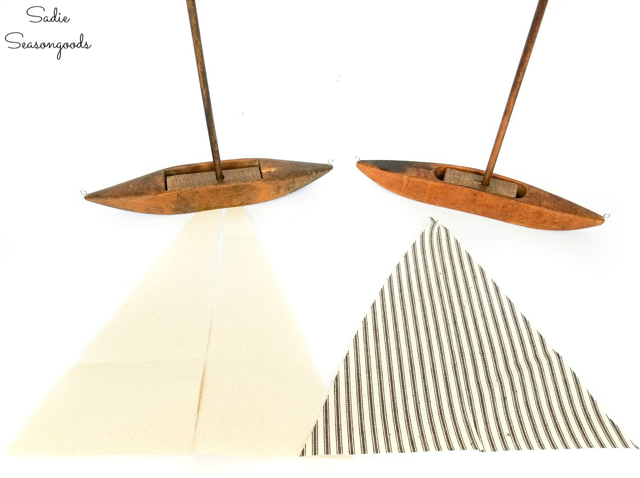 Sails for decorative sailboats with duck cloth and ticking fabric