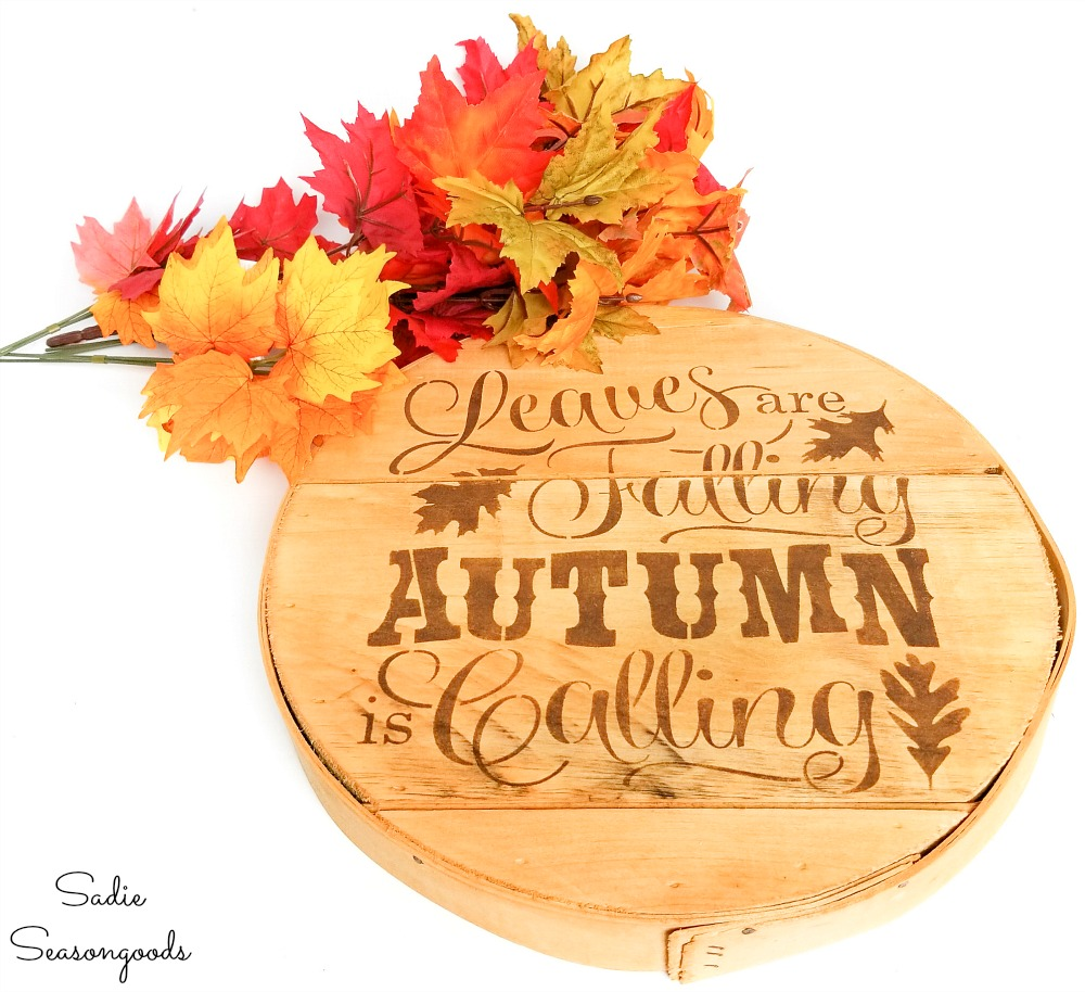 Fall door decor that looks like a wood burned sign