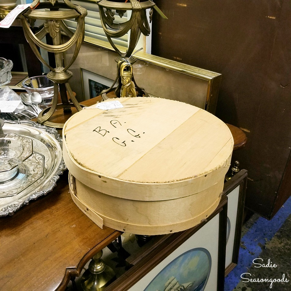 Wood cheese box at Sleepy Poet Antiques Mall in Charlotte NC