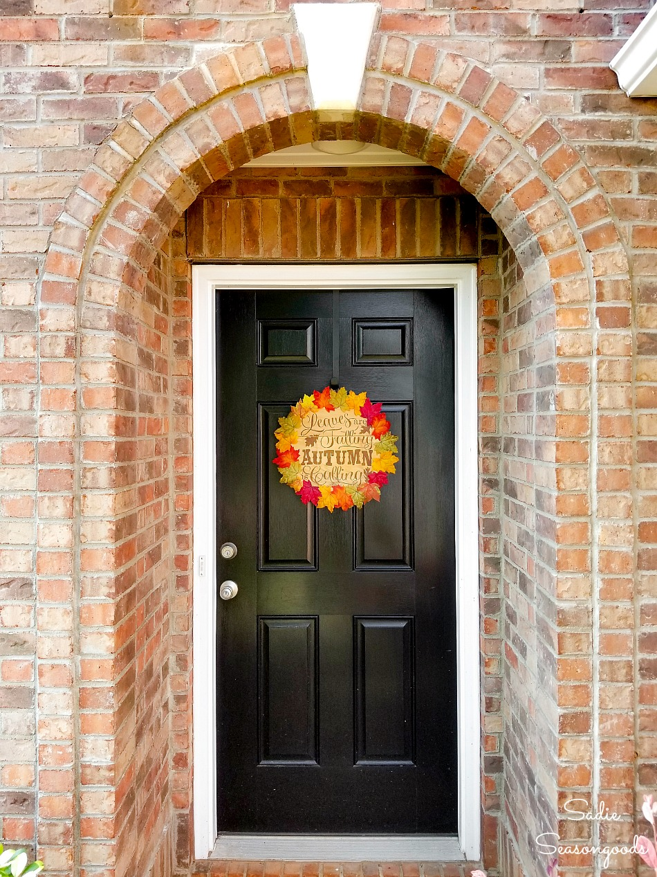 Wood cheese box lid as a fall door wreath