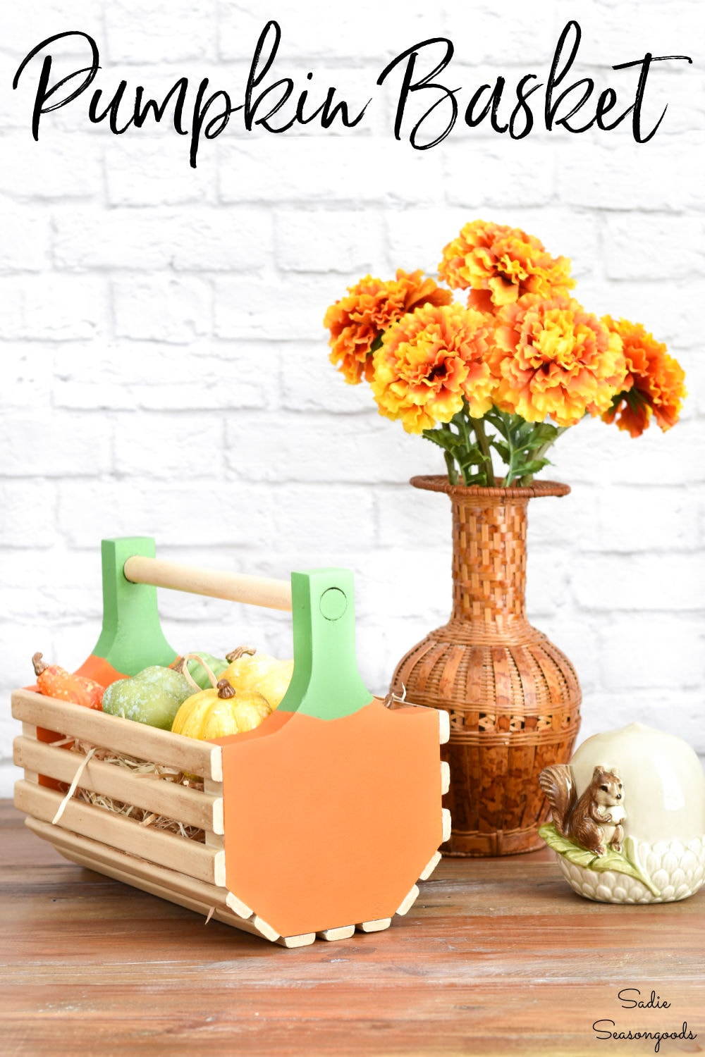 fall decor from a small wooden basket