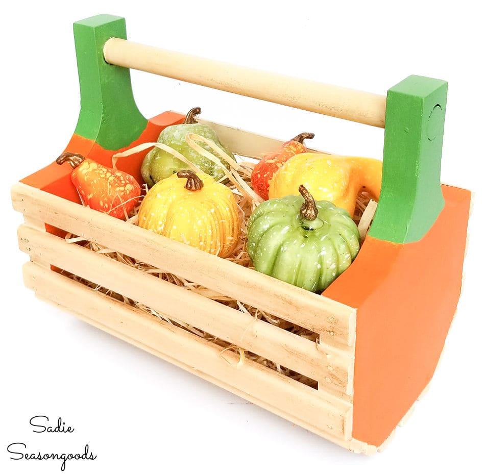 pumpkin basket as a fall centerpiece