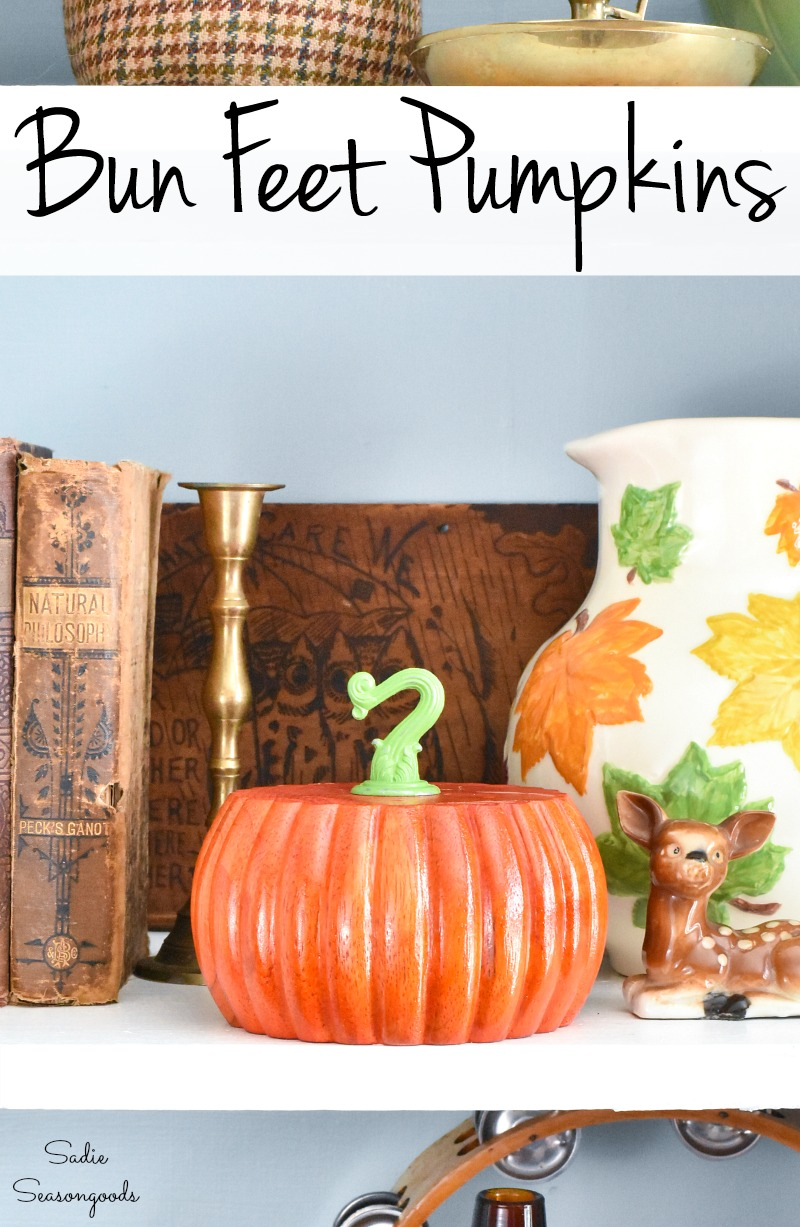 Fall decorating with fun feet as wood pumpkins