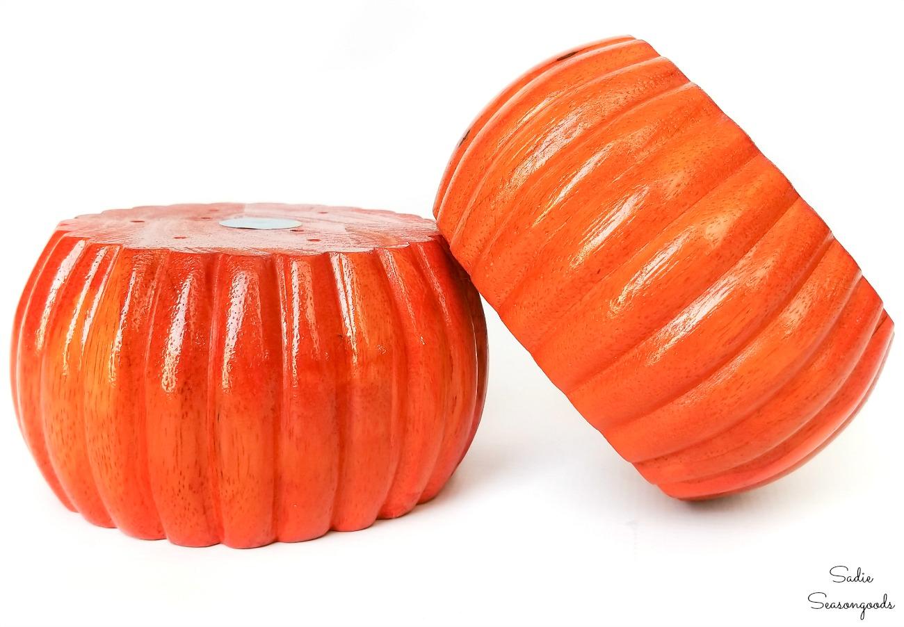 Upcycling the sofa feet as wood pumpkins