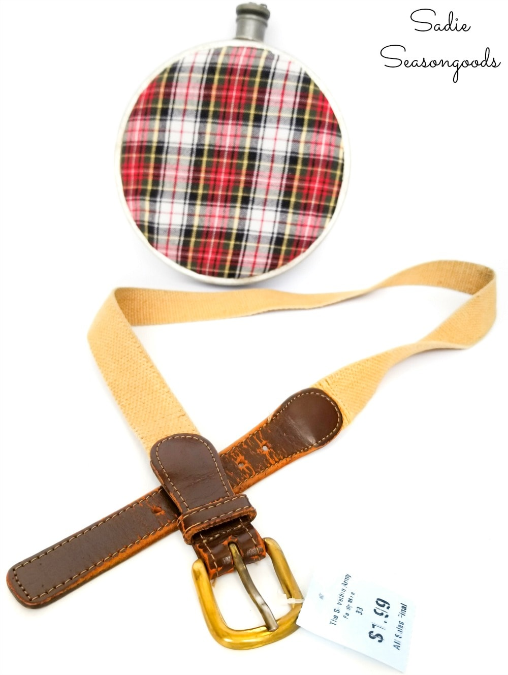 Adding a strap to a vintage canteen with a woven belt