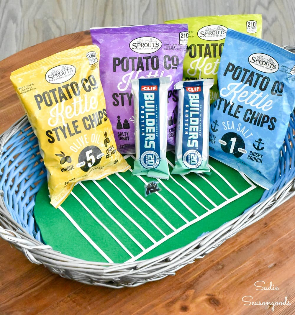Football party decor with a snack basket