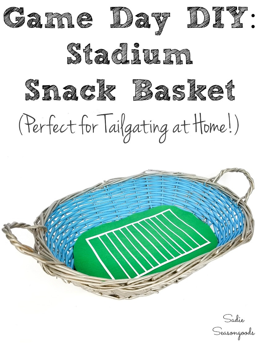 Game Day snacks with a stadium inspired basket