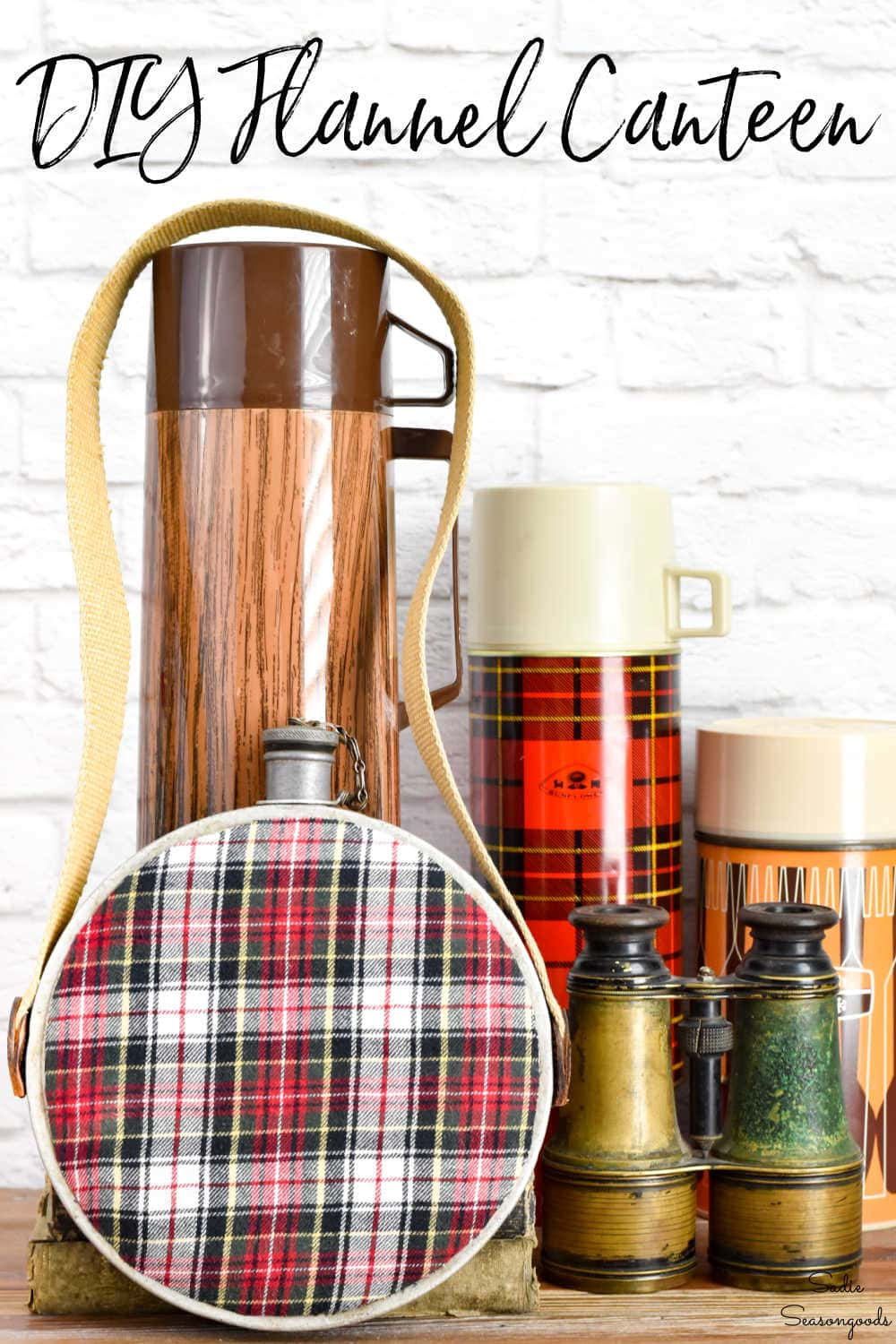 plaid decor with a vintage canteen