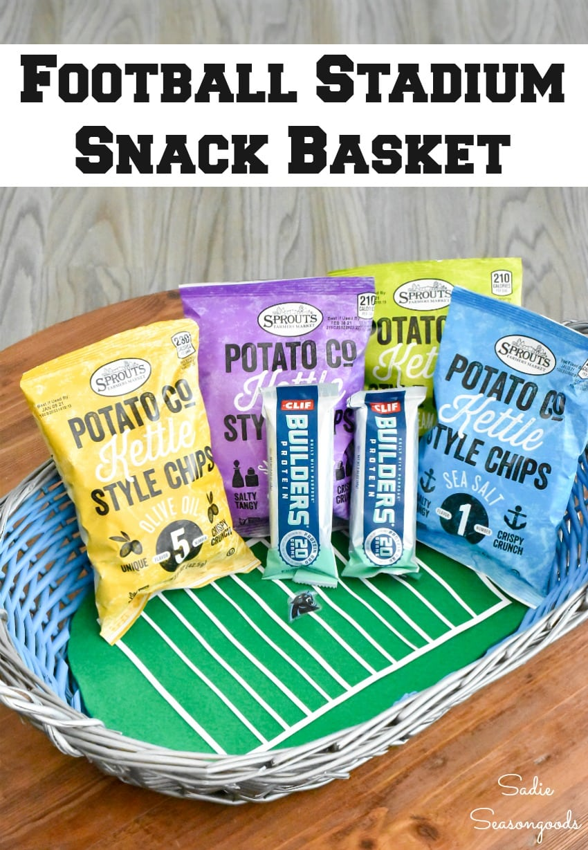 Upcycling a basket to look like a football stadium