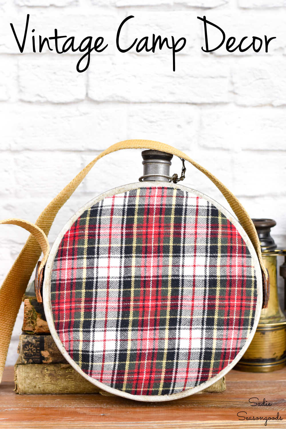vintage canteen and upcycled flannel shirt