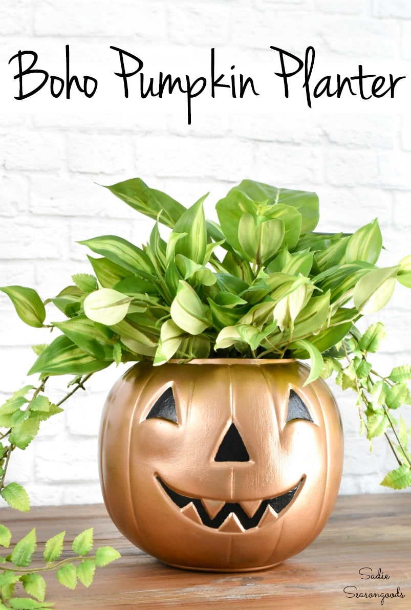 Boho planter for chic Halloween decor