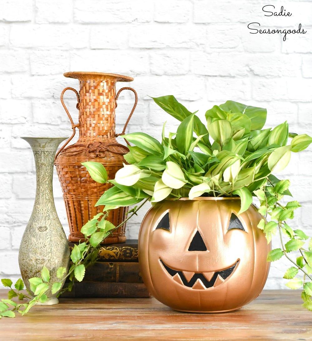 Chic halloween decor with a metallic pumpkin