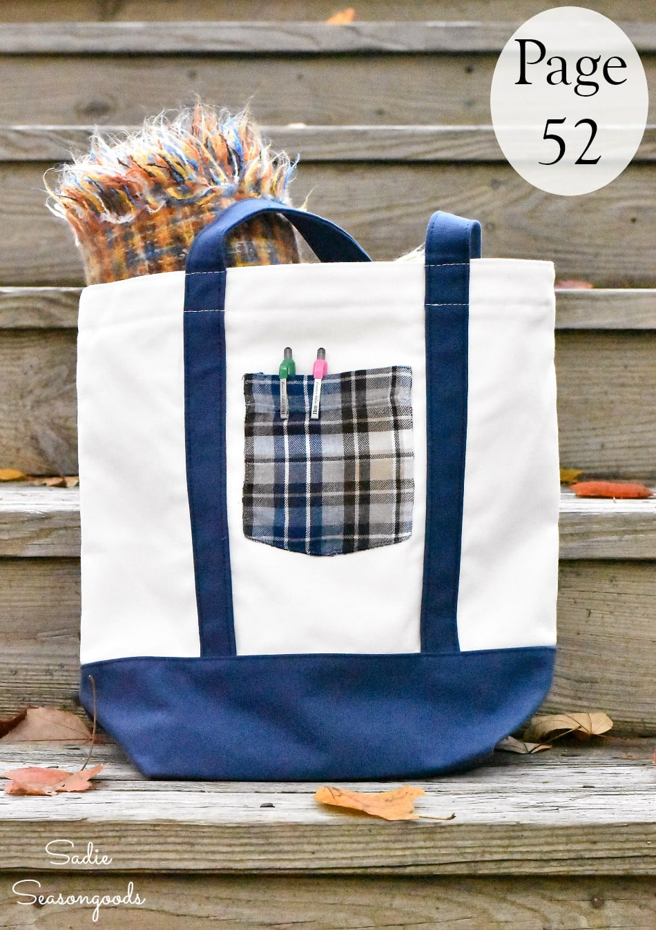 Decorating a tote bag with a flannel pocket