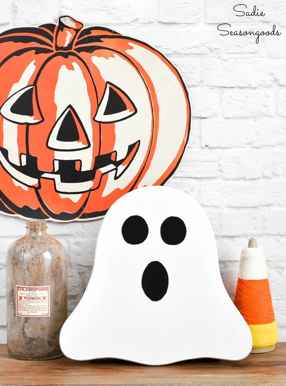 Decorating with a Halloween ghost decoration or wooden ghost