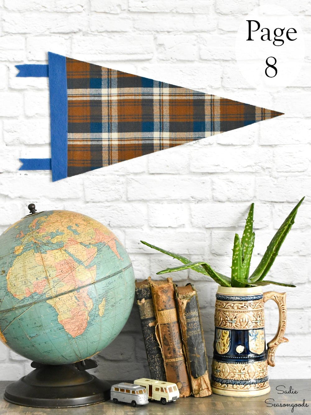 DIY pennant flag with flannel fabric