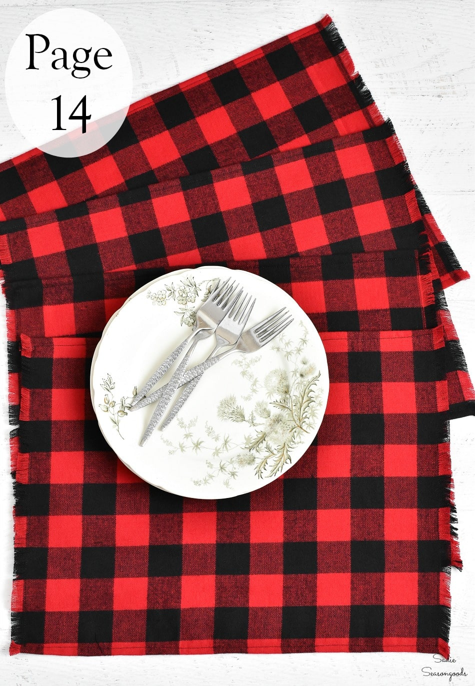 Flannel placemats for a rustic holiday table