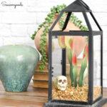 Halloween Terrarium in a Candle Lantern