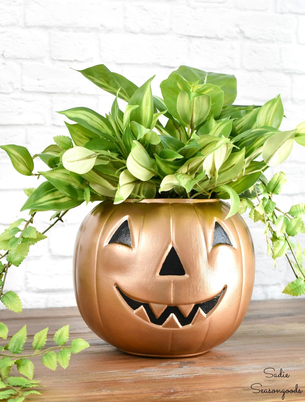 Metallic pumpkin and boho planter