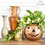 Modern Halloween Decor with a Metallic Pumpkin Planter