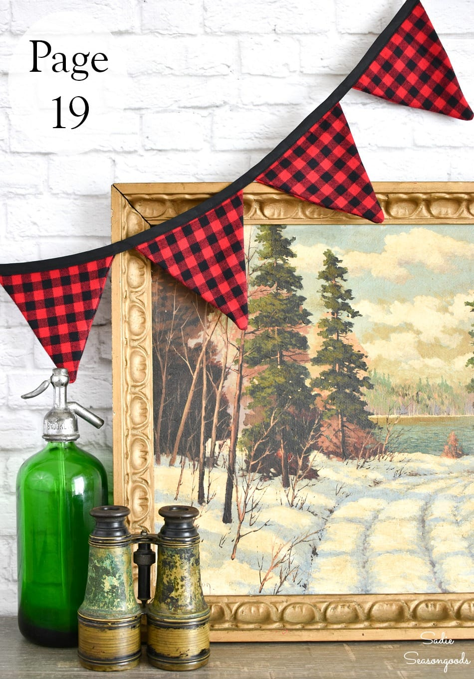 Rustic home decor with buffalo plaid banner