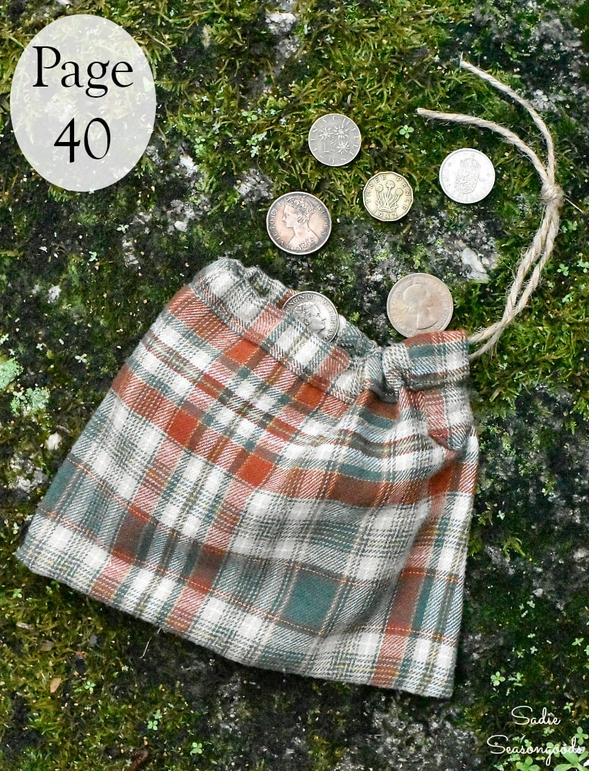 Upcycling a shirt sleeve as a drawstring pouch