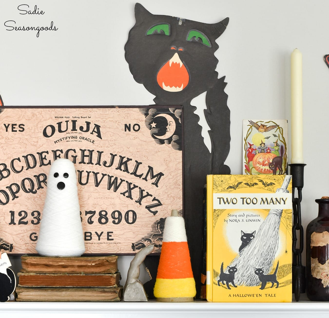 Vintage Halloween decor with children's Halloween books