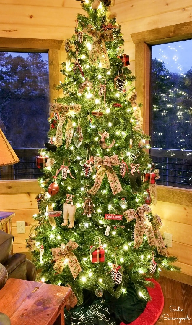 Cabin Christmas tree with fishing ornaments