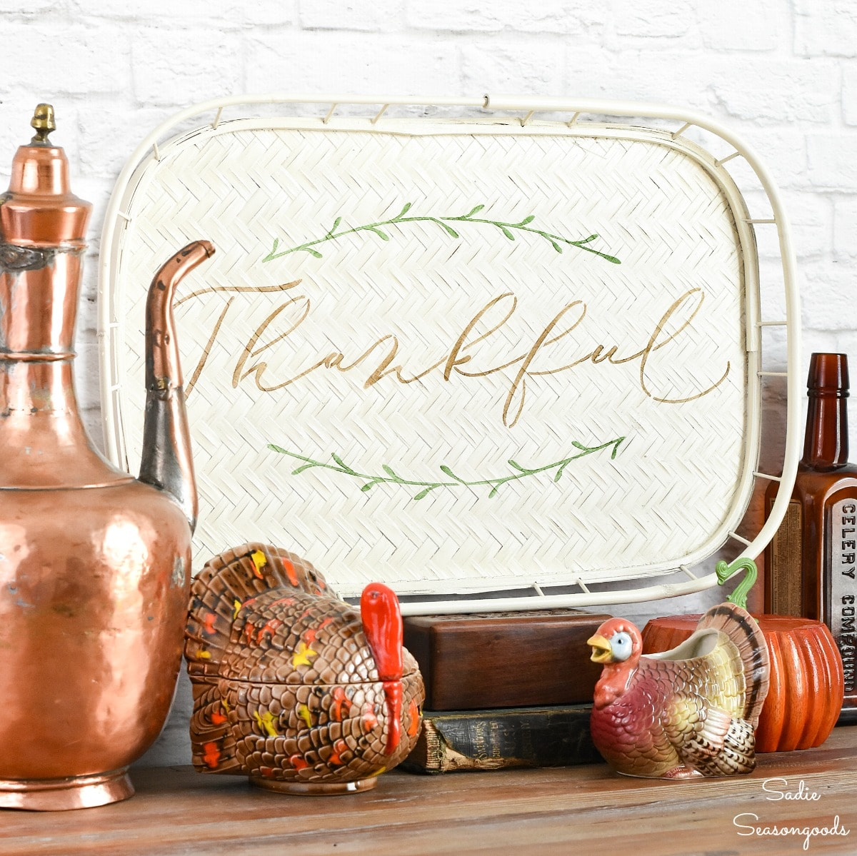 DIY Thanksgiving Decor from a Bamboo Serving Tray