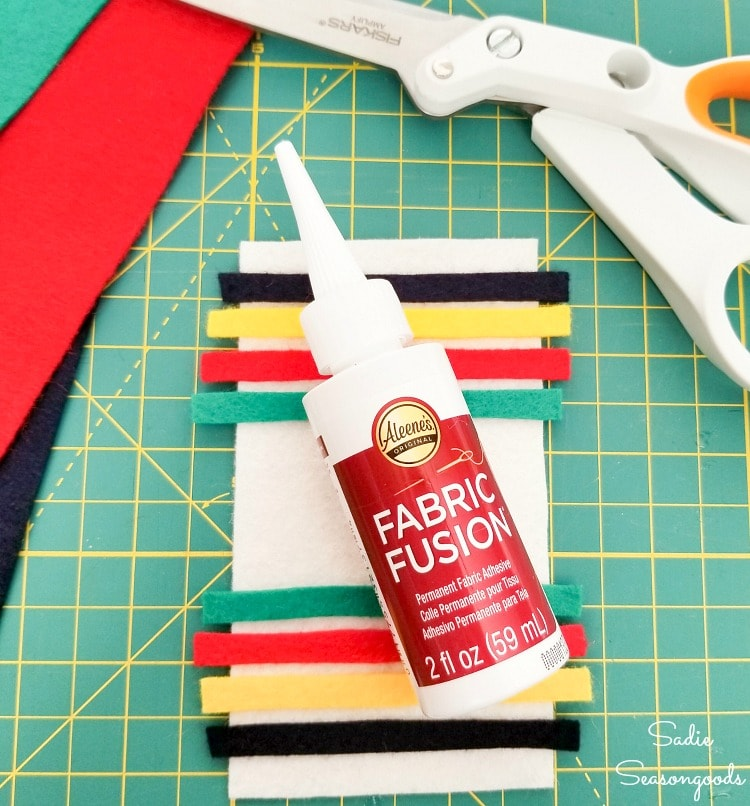 Fabric glue for the Hudson Bay stripes