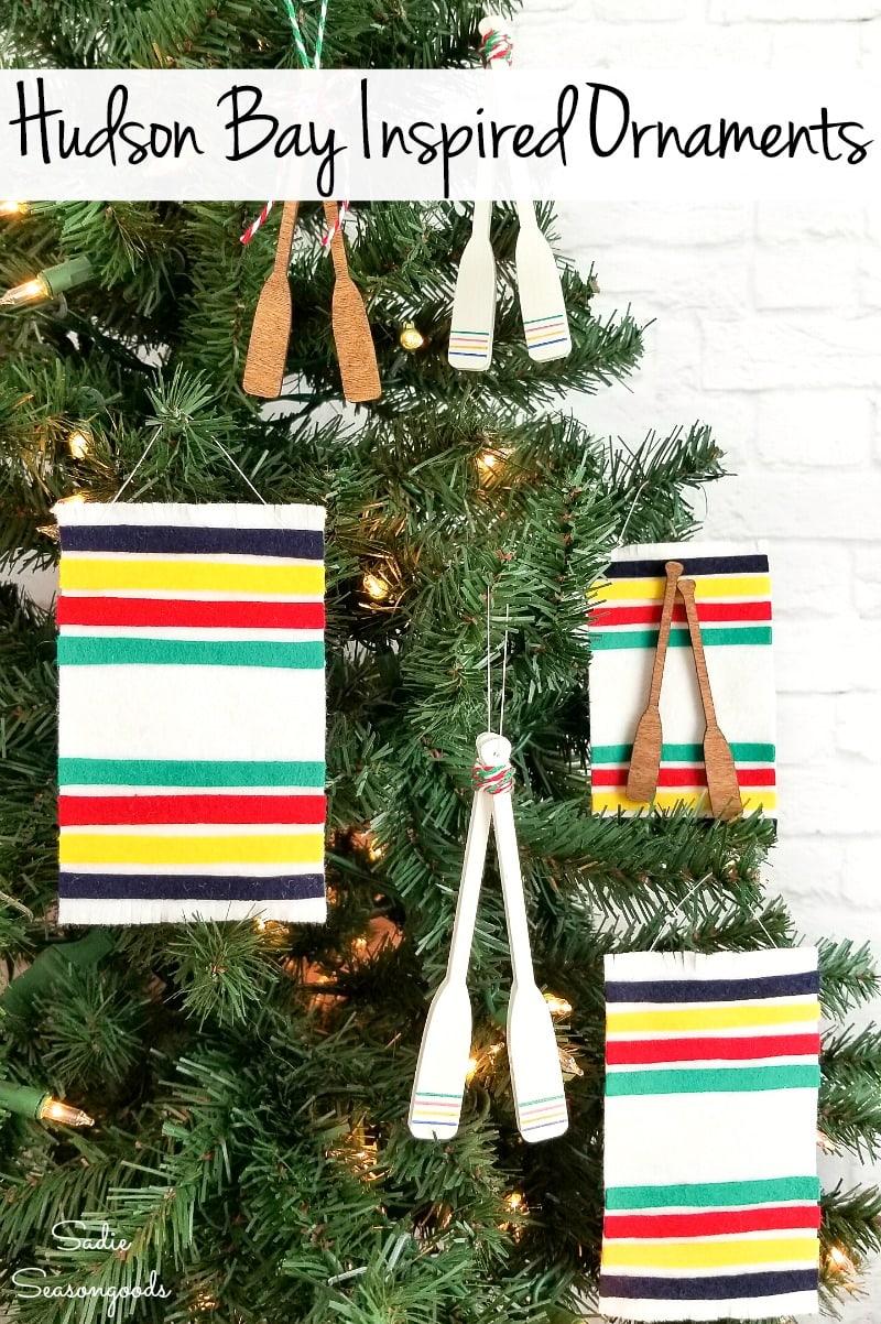 Hudson bay wool blanket as DIY felt ornaments