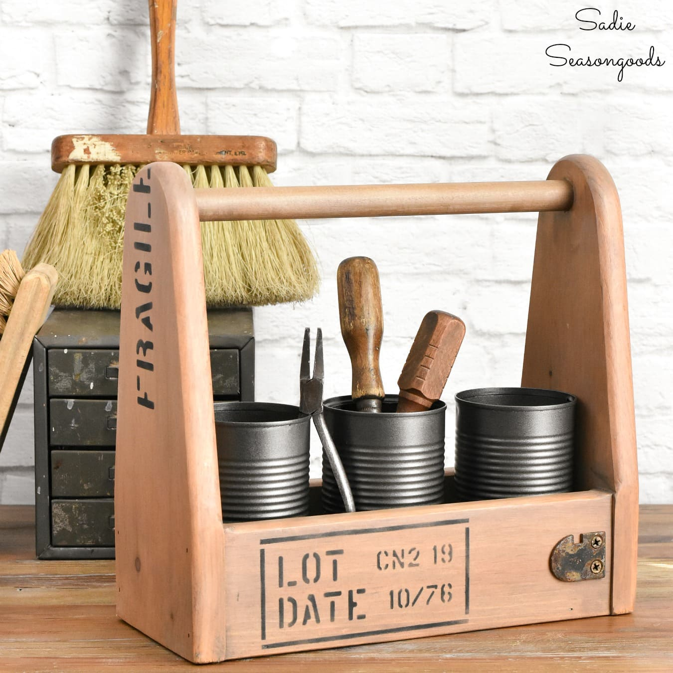 Industrial Style Decor with a Wooden Tool Caddy
