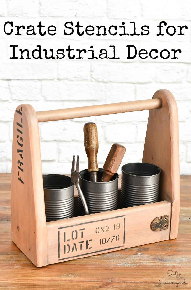 Industrial style decor with crate stencils