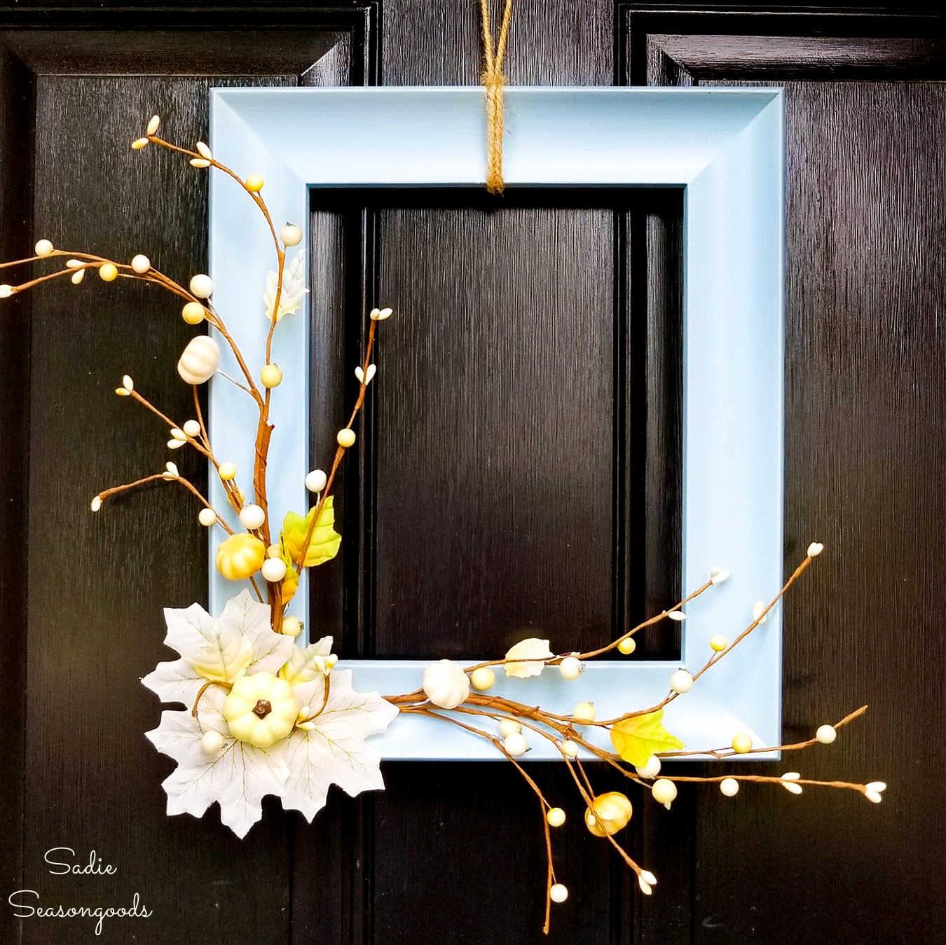 Picture Frame Wreath as Neutral Fall Decor